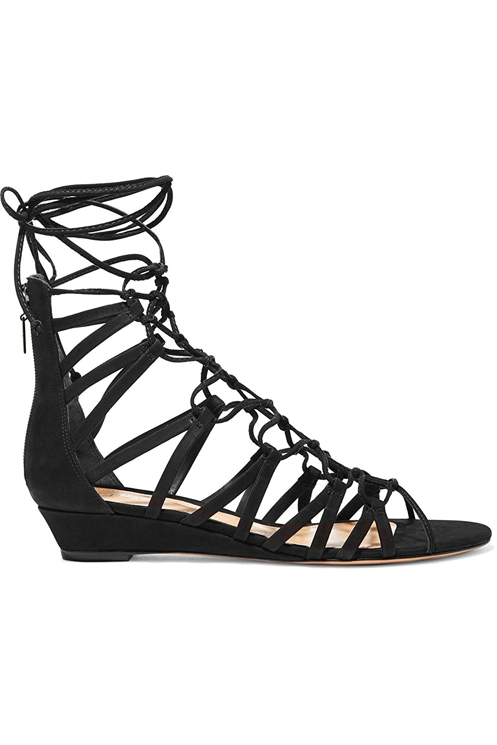 fd7f02be4c87 Get Quotations · SCHUTZ Nitty Black Suede Lace-up Strappy Low Wedge Open Toe  Nubuck Sandals