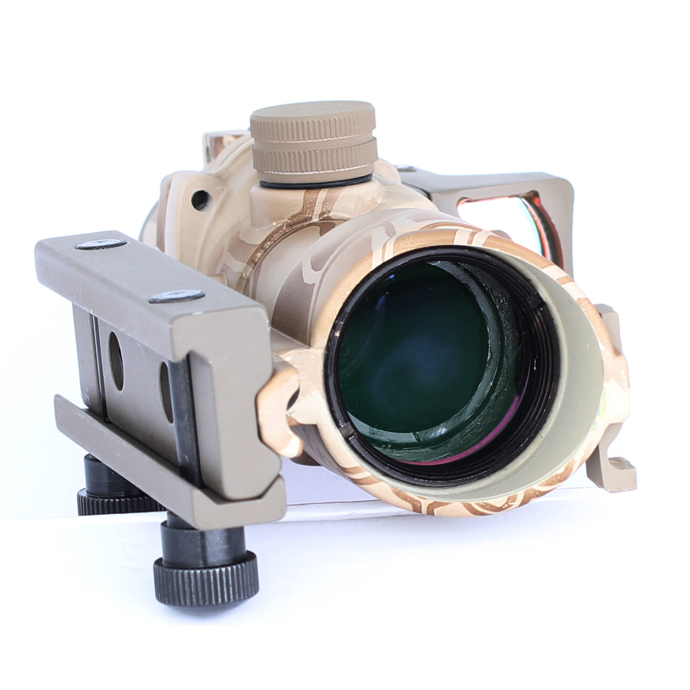 SPINA Tactical Hunting Optic Sight ACOG 4X32 Airsoft Scope Real Red Fiber Riflescope