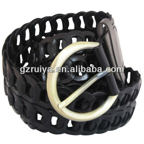 The New Design Unique Look Black Leather Wide Linked Women's Belt with Matte Aged Finish Round Gold Buckle
