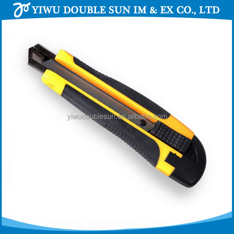 Hardware tool yellow plastic sliding utility safe art knife for school and office