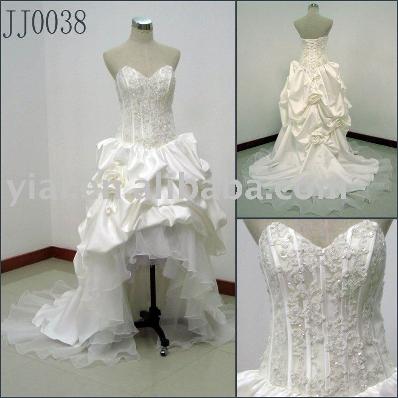 front short long back sleeveless luxury high quality sexy New Arrival Elgant Actual wedding Gown JJ0038