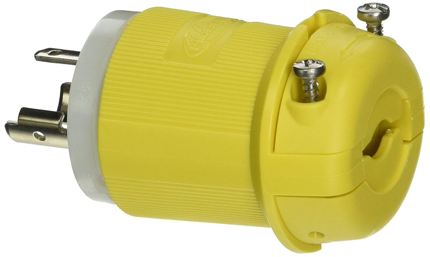 Hubbell Wiring Systems HBL23CM11 Twist-Lock Insulgrip Nylon Standard Plug with Locking Blade, 20 Amp, 125V, 2-Pole, 3-Wire Grounding, Yellow