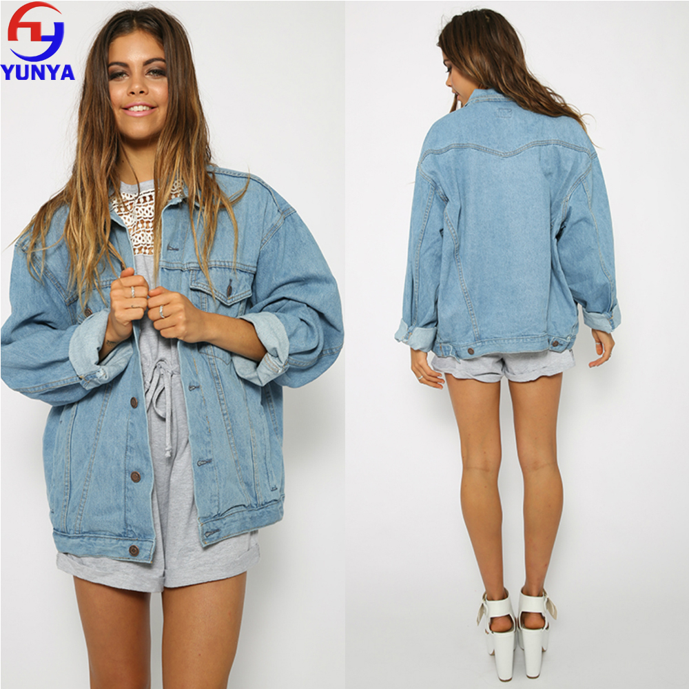 China custom made womens clothing manufacturers women's heavy denim jacket plain denim jacket