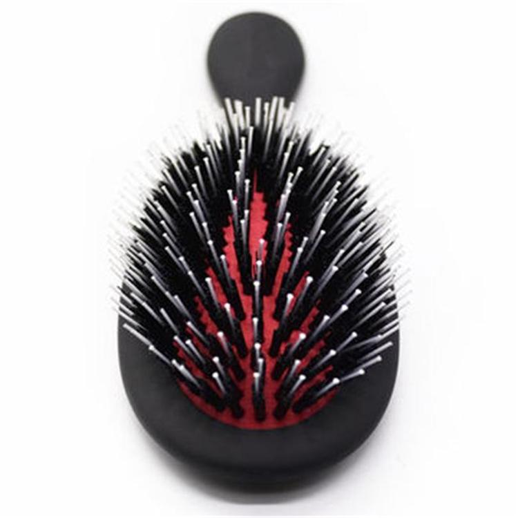 Round Plastic Rubber Hair Brush with Boar Bristle