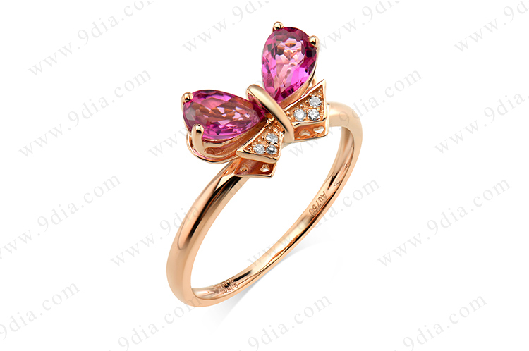 2015 Best Selling Butterfly Tourmaline Diamond 14K Simple Gold