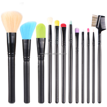 12pc Colorfull Makeup Brush Set with black Pouch and Synthetic Hair