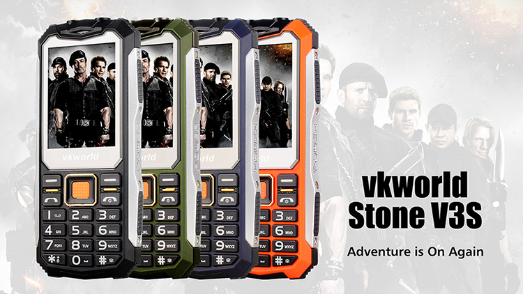 "2018 Feature Phone 2.4"" VKWORLD V3S Waterproof Rugged Phone Mobile"