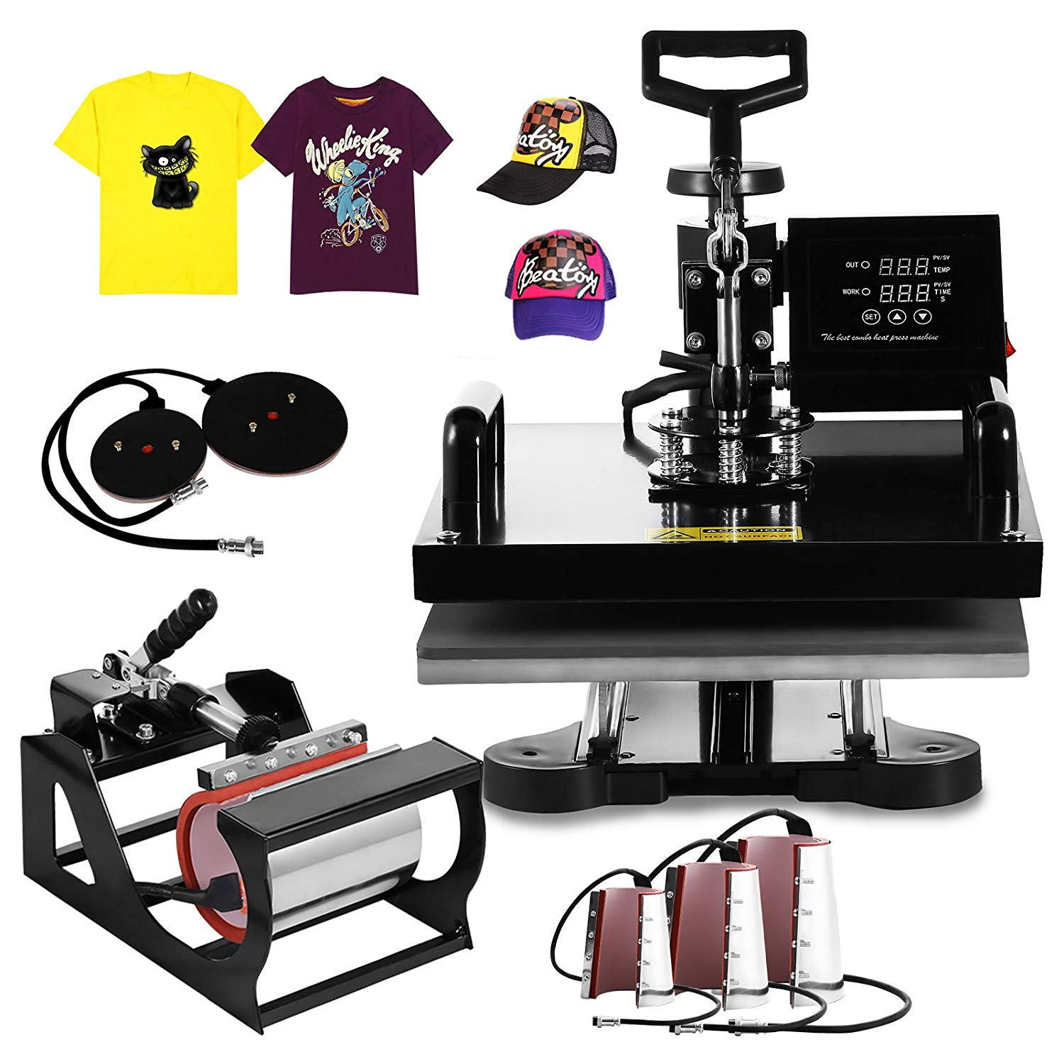 XFMT 15x12 inch Heat Press Machine 1200W Multifunction Sublimation Digital Heat Transfer Press Machine Swing Away T-Shirt Hat Mug (15X15Inch 8 in 1)