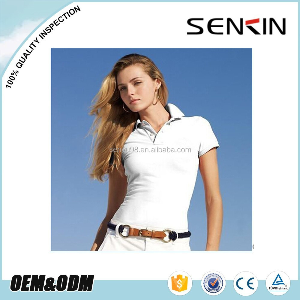 Ladies Cotton Plain White Polo T Shirt Skin Tight Womens Short