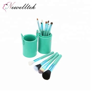 Luxury Makeup Tool Cylinder Smudge Brush Set 12 Pcs Professional Cosmetic Face Brushes with Leather Cup Holder Case