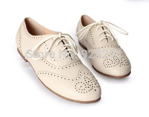 Free Shipping New Style 2014 Women Lady Genuine Leather Shoes British Retro Casual Oxford Shoes Fashion Wingtip Flat Shoes