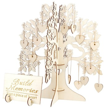 Family Tree Wedding Guest Book 3D Wooden Guest Sign Book Rustic Wedding Party Decorations