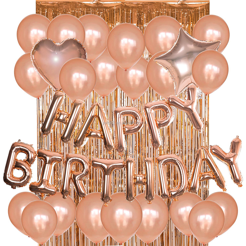 Party Decoration Foil Curtains Metallic Fringe Rose Gold Happy Birthday Balloon Kit
