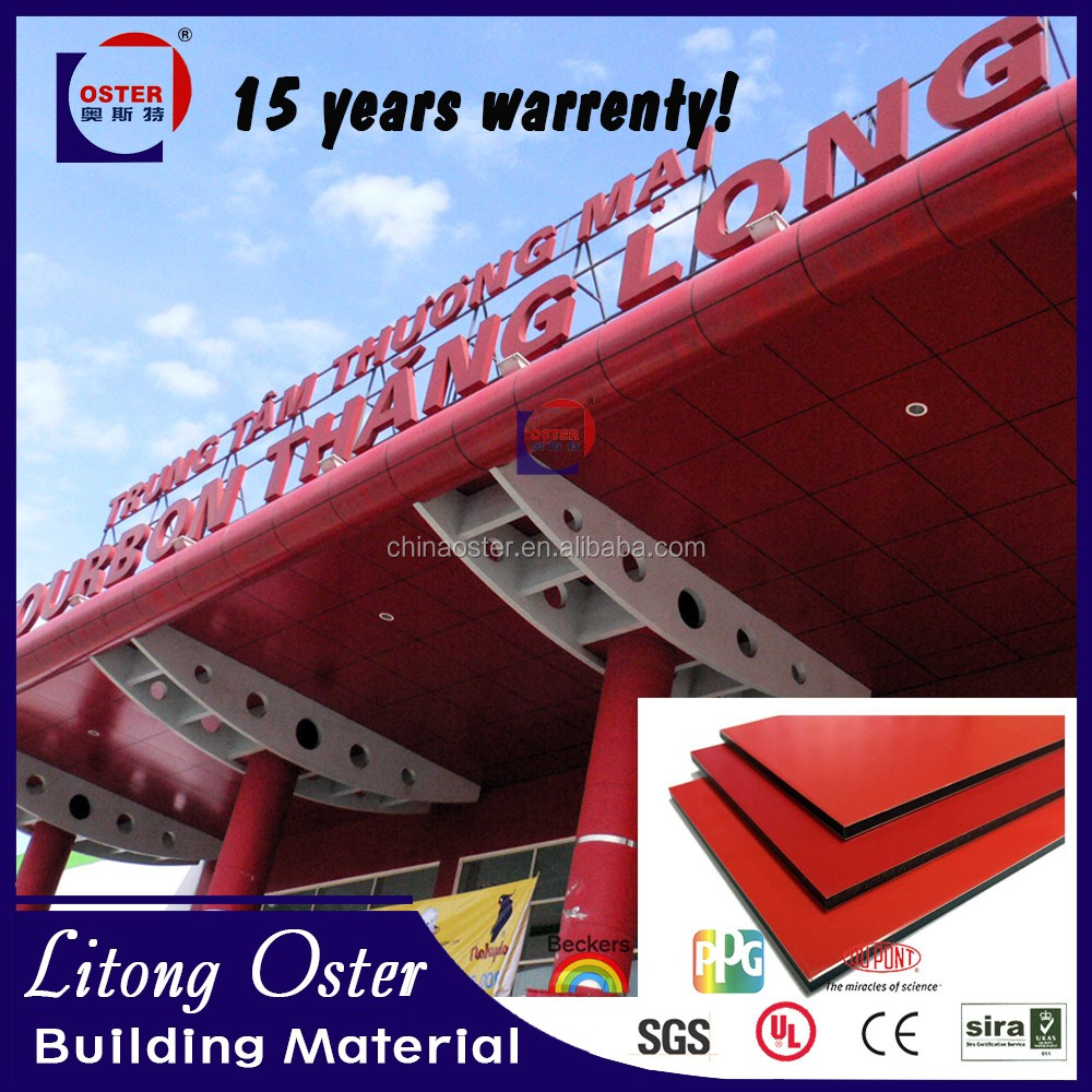 New building materials ACP/ACM bright red aluminum composite material PVDF coating panel