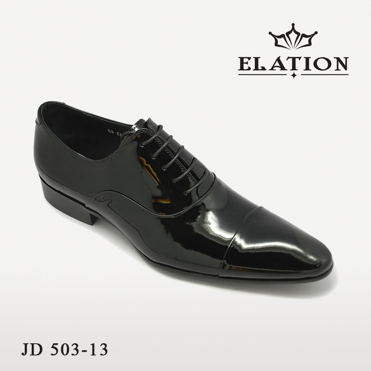 Elation patent leather men dress shoes black footwear custom printed china plus size leather dress shoes