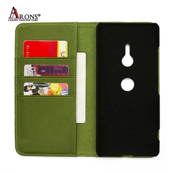 Hot selling professional design back cover gradient color leather flip card holder wallet case For Sony Xperia XZ3