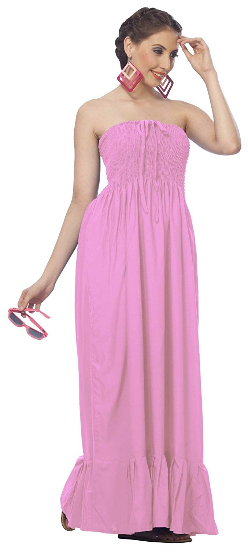 2159527f9c97 LA LEELA Rayon Solid Maxi Wedding Designer Tube Dress Light Pink 265 One  Size
