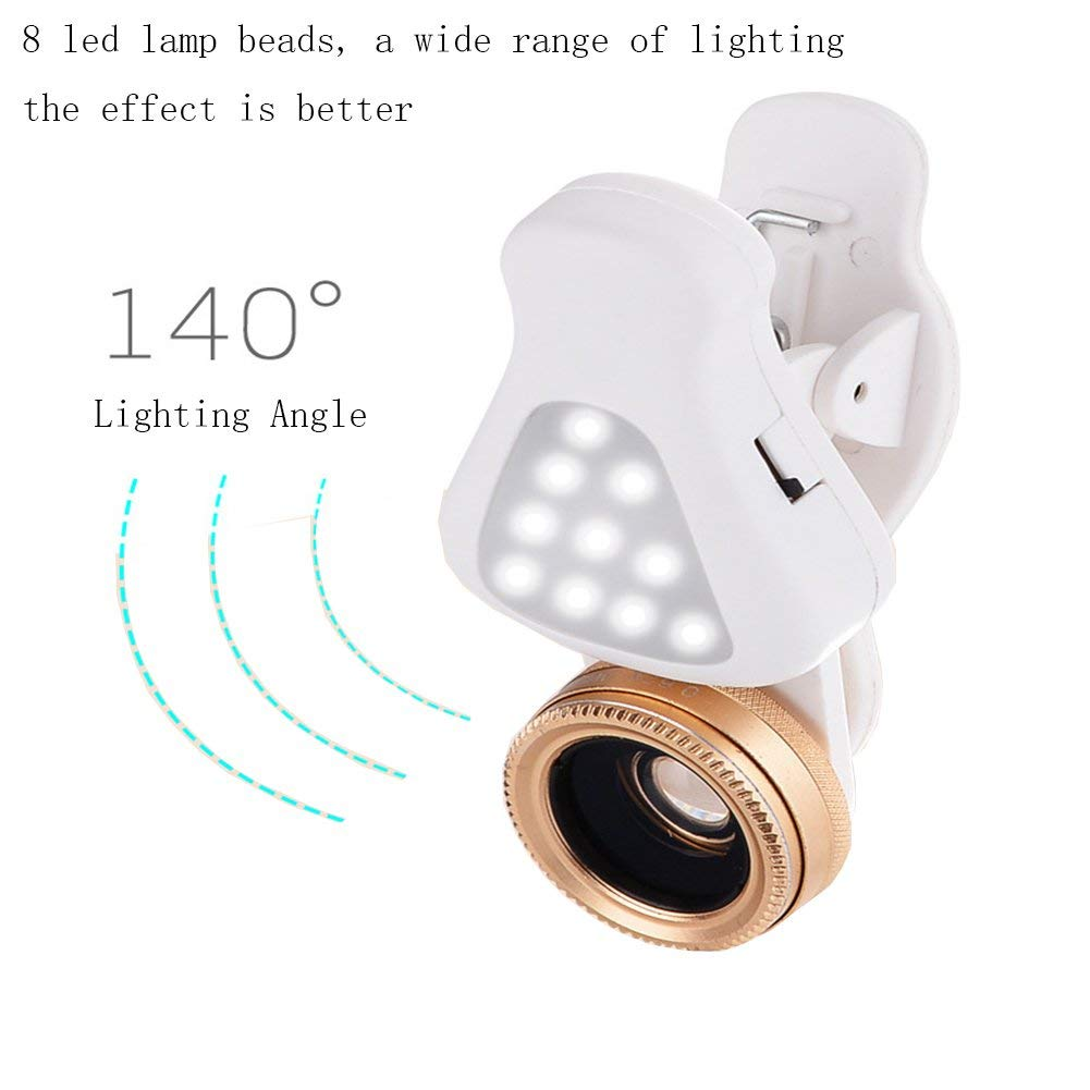 3in1 Cell Phone Camera Lens 15X Macro Lens, with 8 LED Flash Lights 3 Levels Brightness Fill Light Clip-on Phone Lens for All Smartphonesor Ipaid
