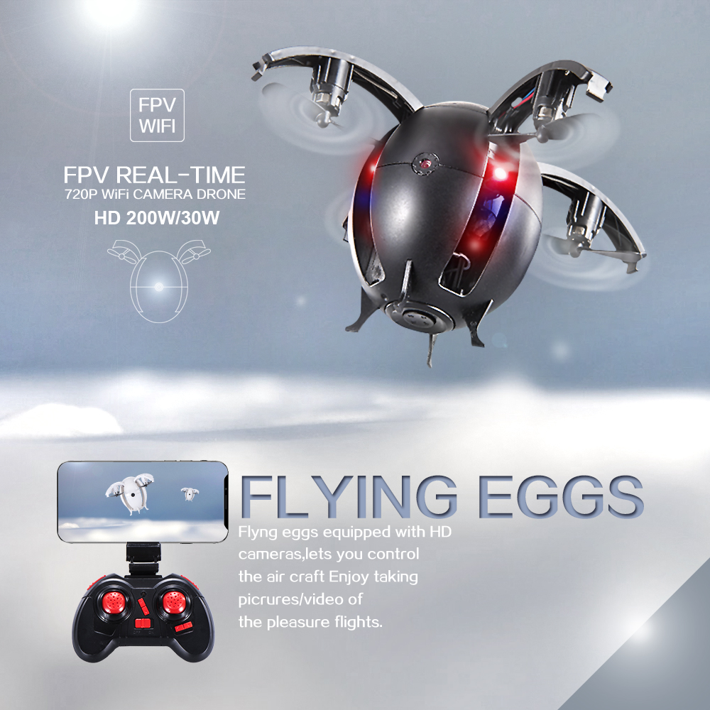 New One-key Foldable Transformable RC Quadcopter Drone Alpha Flying Egg 0.3MP Wifi FPV Camera