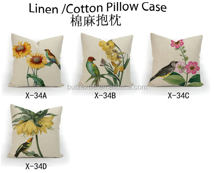 Polyester fabric Novel bird flower design sofa decorative throw pillow covers