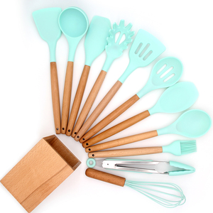 Amazon Hot Seller Natural Wood Cooking Tool Silicone Wood Handle Utensil Set