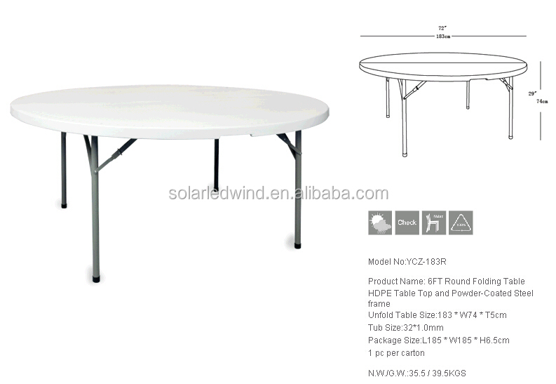 6ft Round Folding Tableoutdoor Table two Pcs TopBut Not Fold In