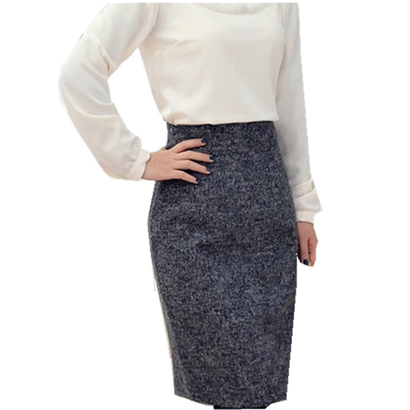 Autumn Winter Women Skirt 2015 Woolen Plus Size Skirt High Waist Pencil Skirts women Fashion
