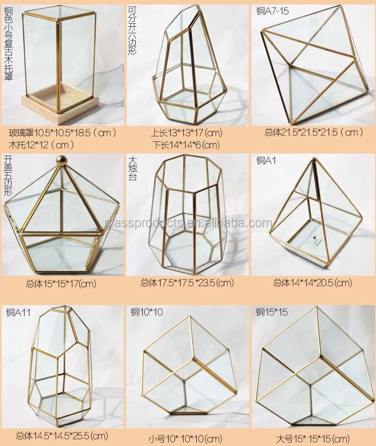 Decorative Wholesale Geometric Glass Terrarium for Succulent Plant Terrarium Curio