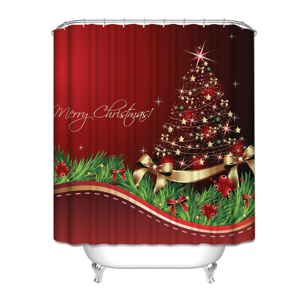 HGOD Designs Christmas Theme Decor For Bathroom Merry Shining Santa Tree Red Background Water