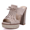 Wholesale Wooden High Heel Buckle Tassel Beautiful Sandals India Beautiful Nude Girls Photo Sexy