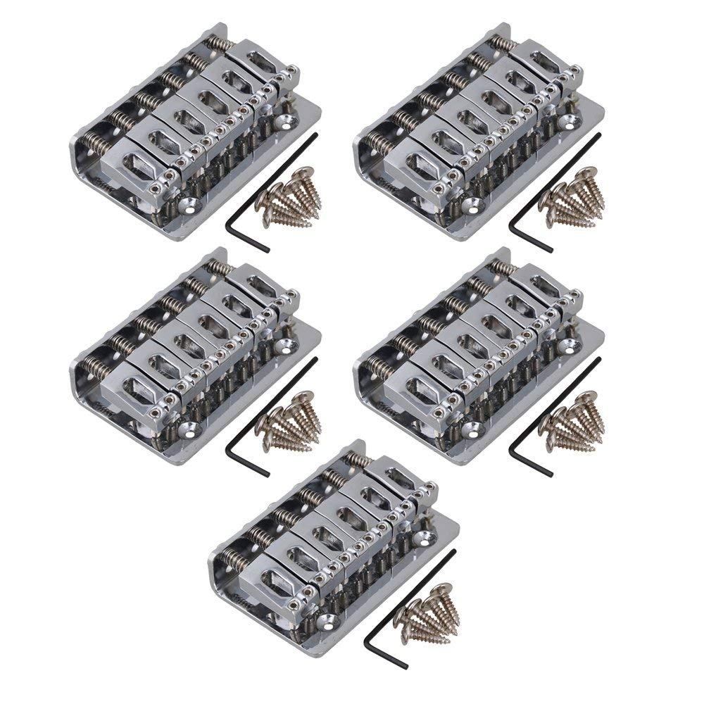 Yibuy 65x40mm Space 10.5mm Chrome Hard Tail Fixed Bridge for 6 String Guitar Set of 5