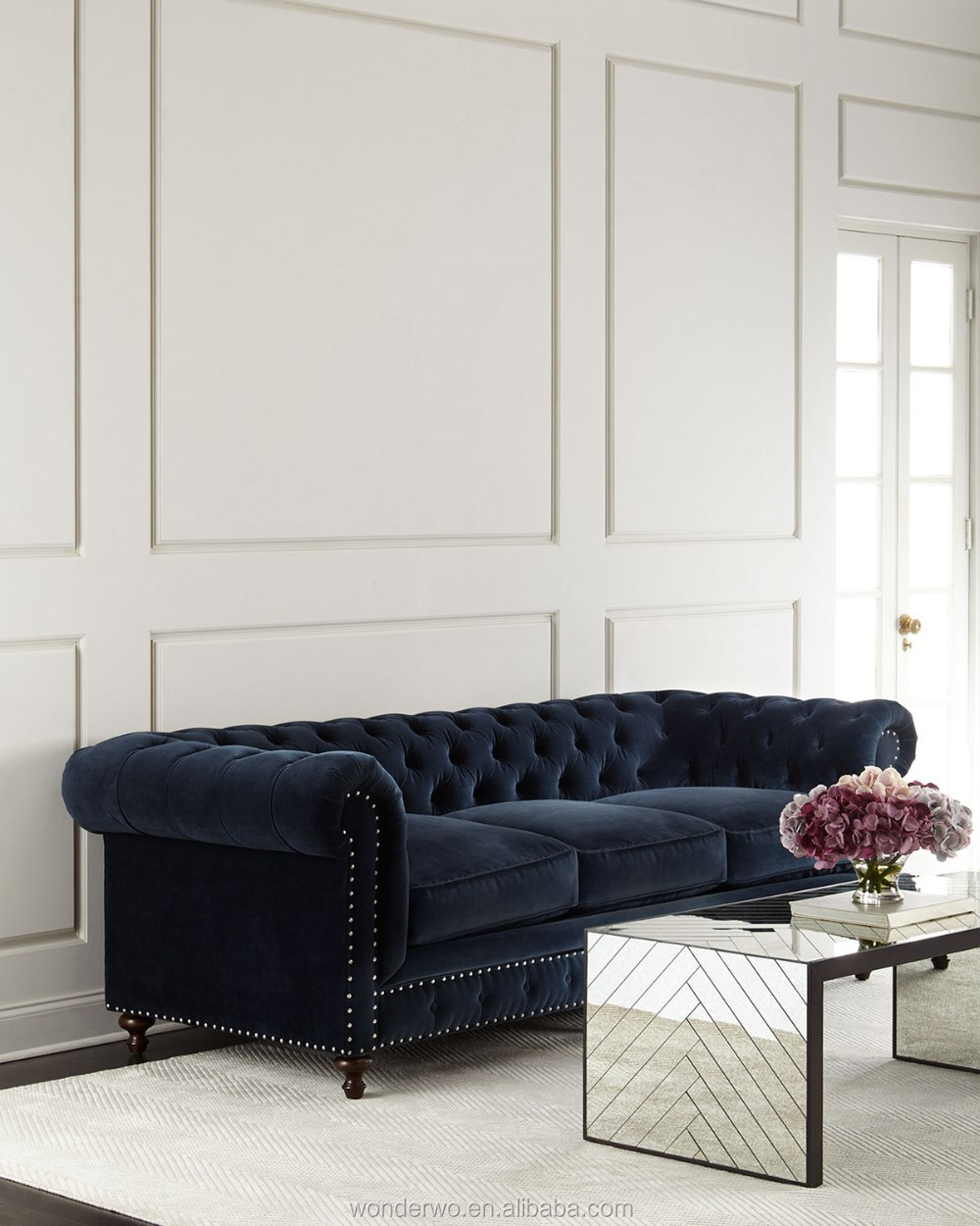 Navy blue cotton velvet upholstery classic chesterfield style sofa 3 cushion tufted sofa living room furniture