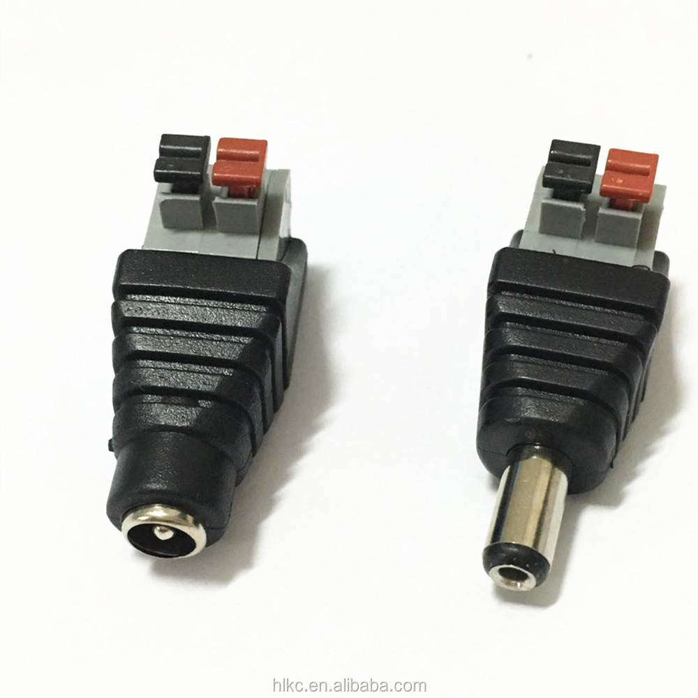 100Pcs DC 12V  Power Female Connector Jack Plug Adapter 2.1 x 5.5mm Light Strip