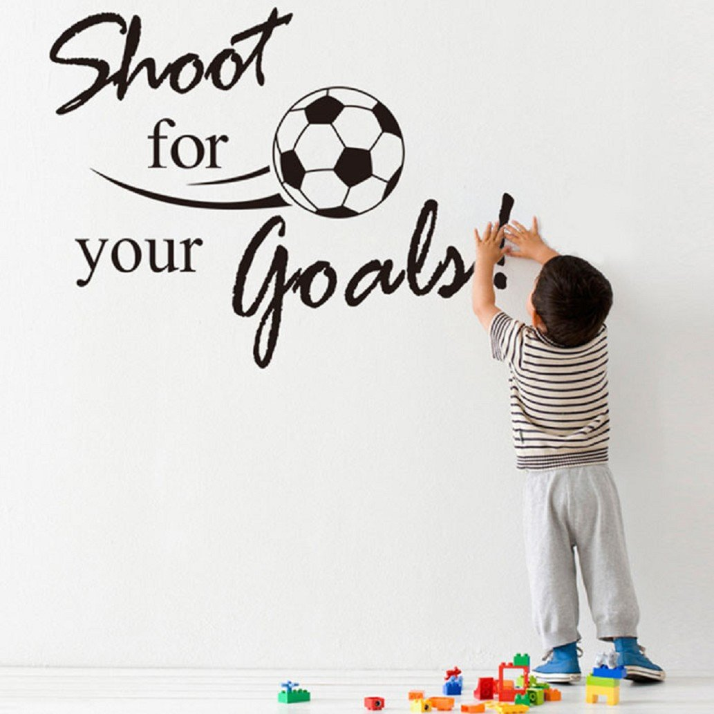 Binmer(TM)New Shoot For Your Goals Football Soccer Removable Decal Wall Sticker Home Decor