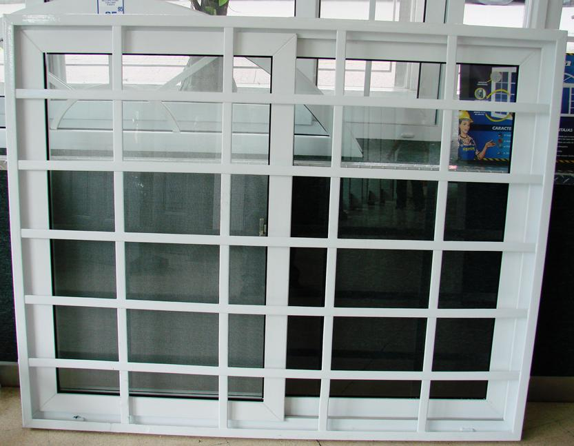 Plastic slider glass window with steel security window