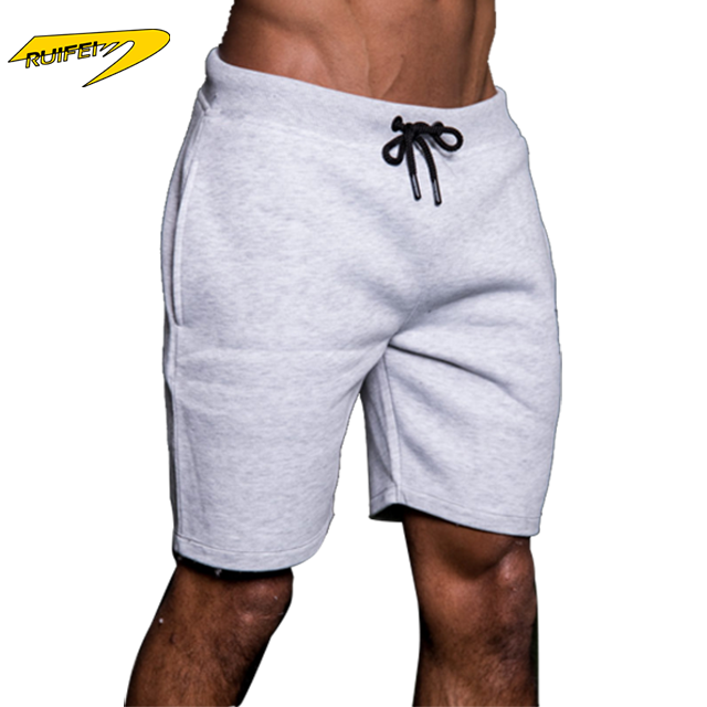 Wholesale fleece cotton running men athletic shorts 100 cotton gym fitness shorts