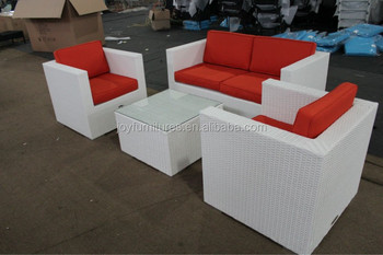 White Rattan Sofa Red Cushions Outdoor Furniture