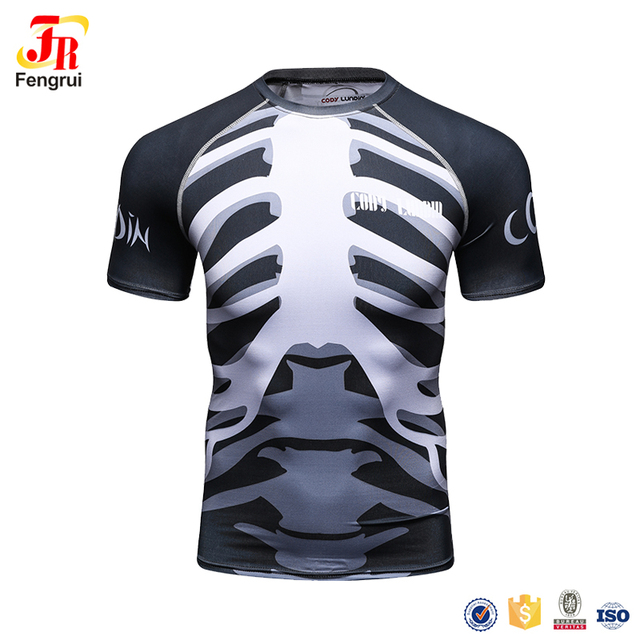 Cody Lundin Skeleton Costume 3D Allover Sublimation Running T-Shirt Bones Full Graphic Compression Short Sleeve Shirts For Men