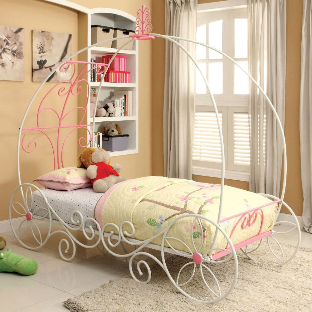 Get Quotations 1PerfectChoice Enchant Princess 3D Carriage Sturdy Metal Twin Pink White Bed