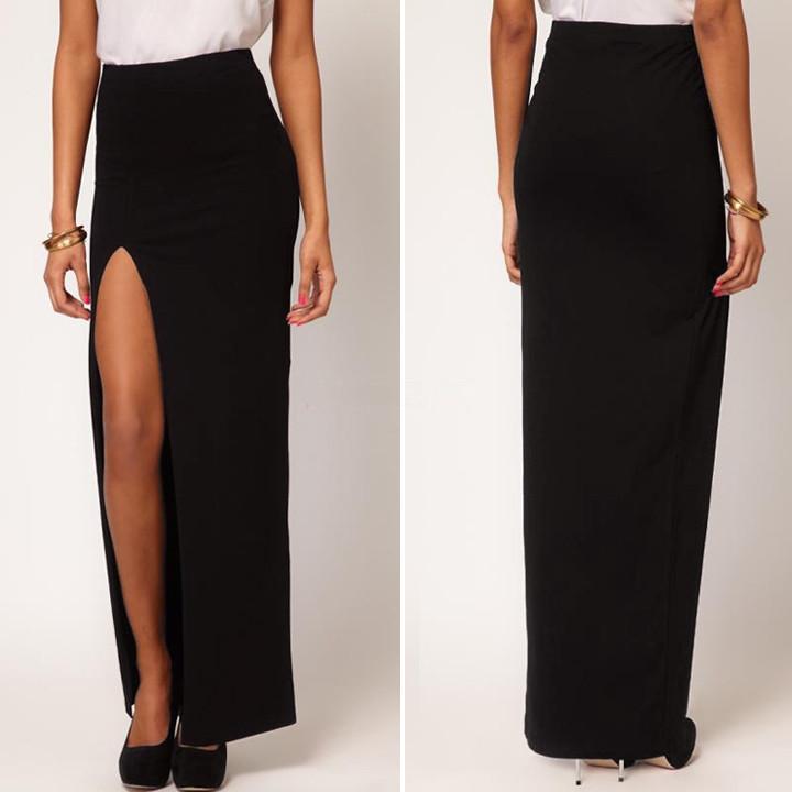 2015 Sexy Euro Fashion Women's Side Split Slim Long Maxi Skirts ...