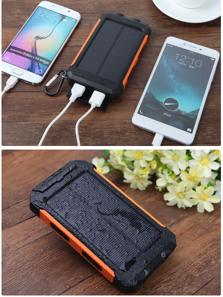 Solar Power Bank Dual USB Power Bank 20000 mAh PowerBank 배터리 External 휴대용 Solar Panel 와 LED 빛