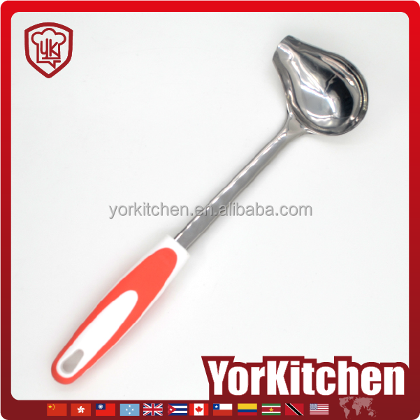 Novel design TPR handle FDA LFGB Grade stainless steel gravy sauce ladle