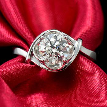 Certified 18k White Gold Forever One Moissanite Diamond Engagement