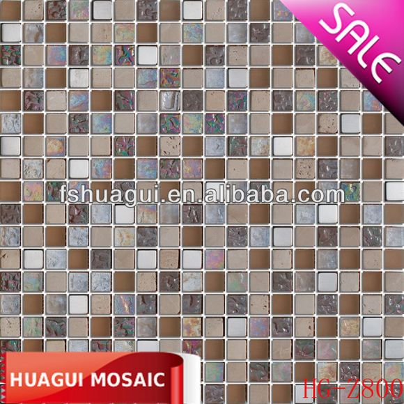 15*15*8mm Frosted glass and marble mosaic for wall and floor decrative HG-Z800