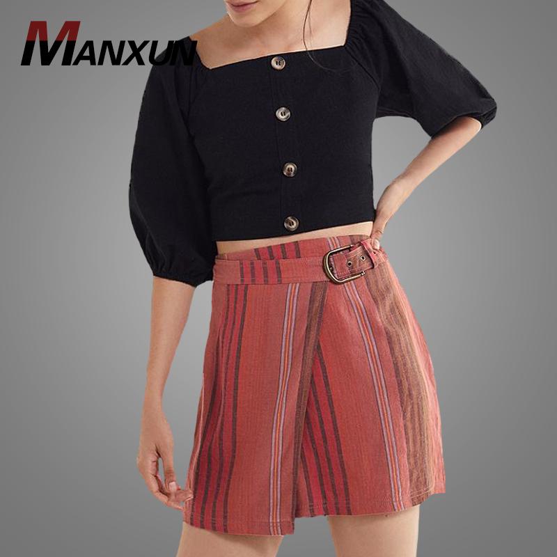 6d22aa0cc Precio de fábrica Venta caliente de la alta cintura Mini A-Line falda  personalizado rayas Belted Wrap faldas Slim