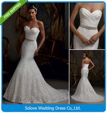 Pleat Bridal Wedding Gown Real Photos White Lace Cheap Mermaid Wedding Dress 2016 Vintage Sash Bride Dress vestido De noiva 2015