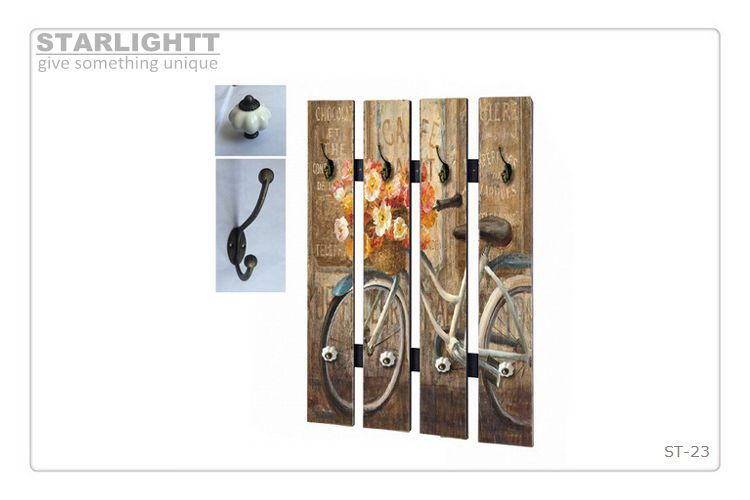 hallway coat rack wall Wooden / hook strip 40 x 60 cm Shabby