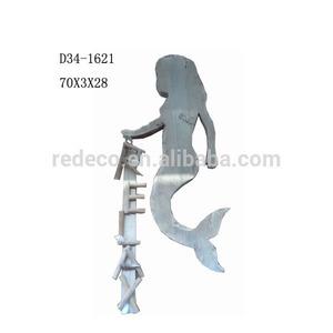 Custom Made Wood Mermaid Statue For Sale