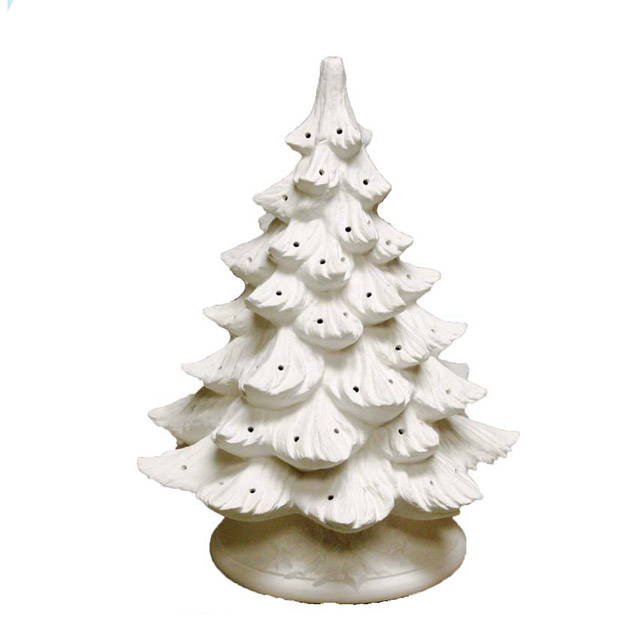 U-paint white ceramic bisque Christmas tree nowell mold