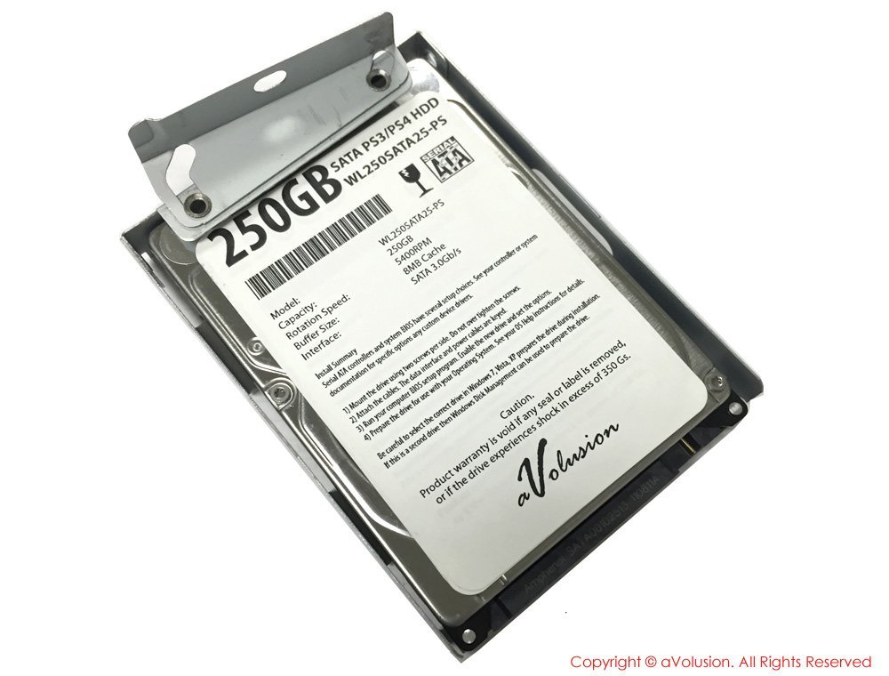 "Avolusion 250GB 2.5"" SATA (PS3) Playstation3 Hard Drive (PS3 Fat, PS3 Slim, PS3 Super Slim CECH-400x Series) + HDD Mounting Bracket - 2 Years Warranty"
